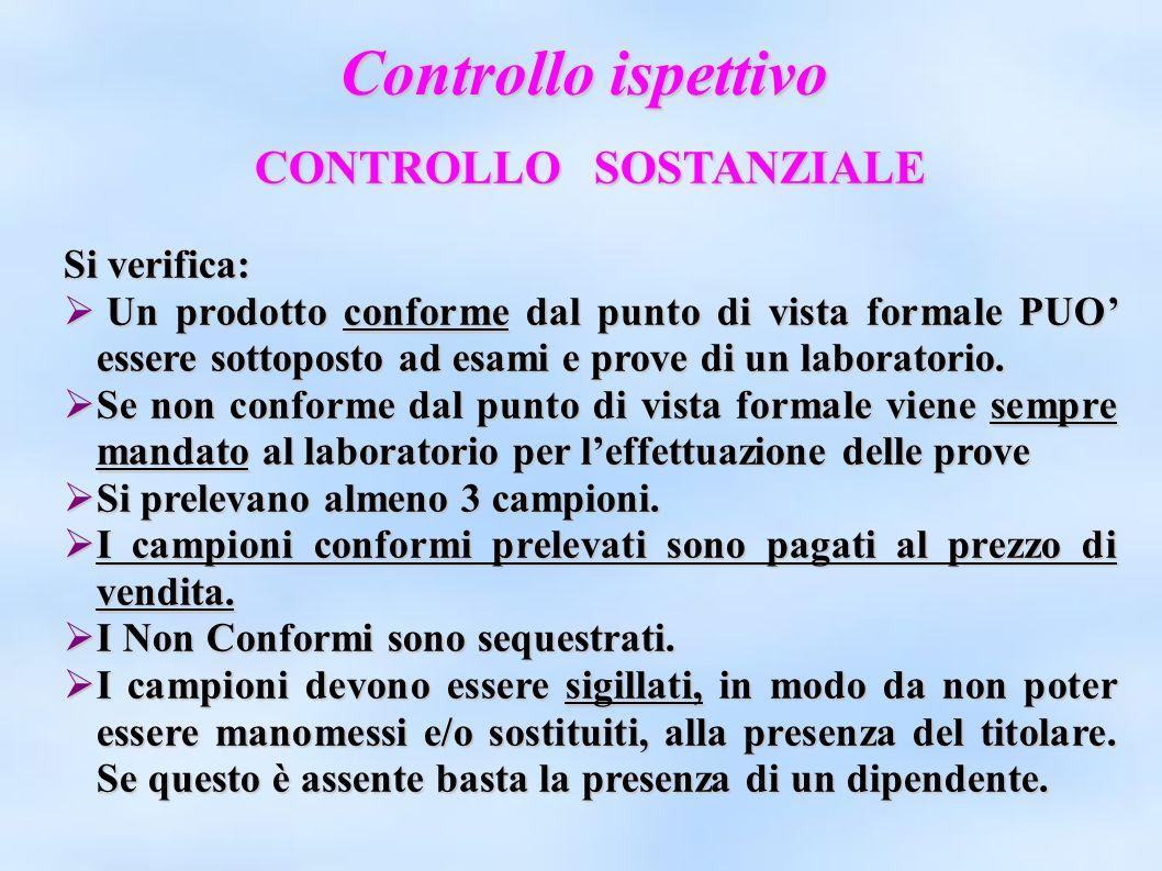 Controllo ispettivo CONTROLLO SOSTANZIALE Si verifica: Un prodotto conforme dal punto di vista formale PUO essere sottoposto ad esami e prove di un la