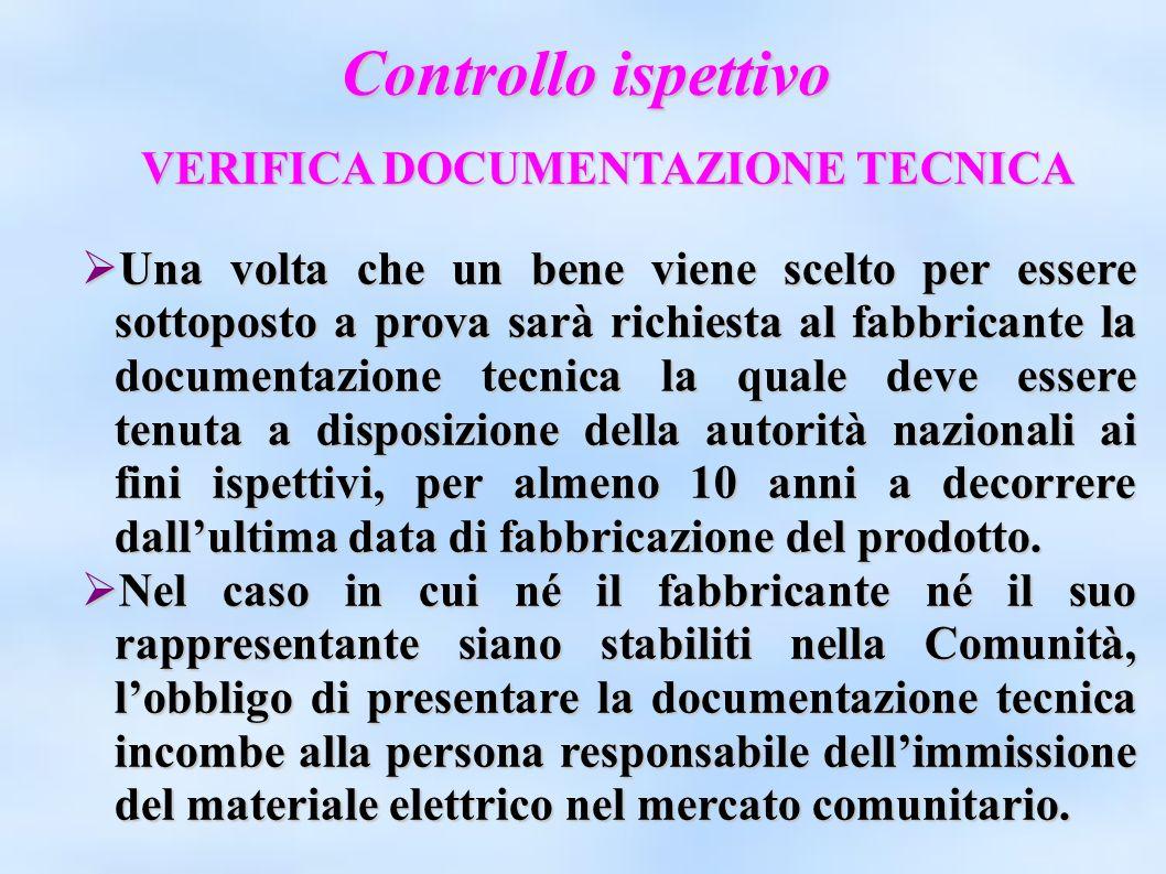 Controllo ispettivo VERIFICA DOCUMENTAZIONE TECNICA Una volta che un bene viene scelto per essere sottoposto a prova sarà richiesta al fabbricante la