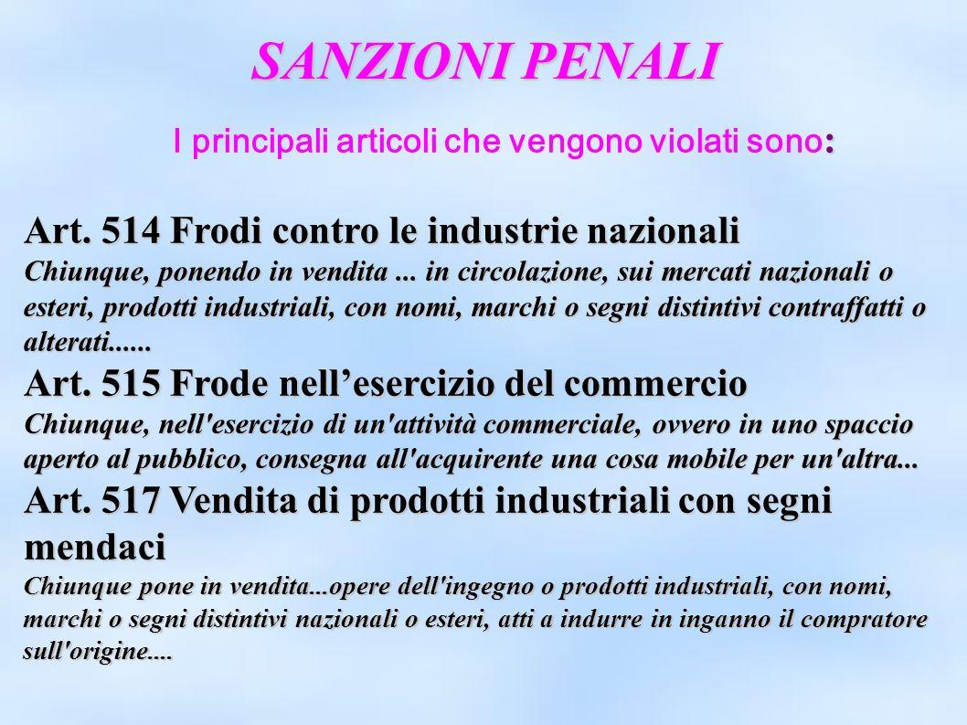 SANZIONI PENALI : I principali articoli che vengono violati sono : Art. 514 Frodi contro le industrie nazionali Chiunque, ponendo in vendita... in cir