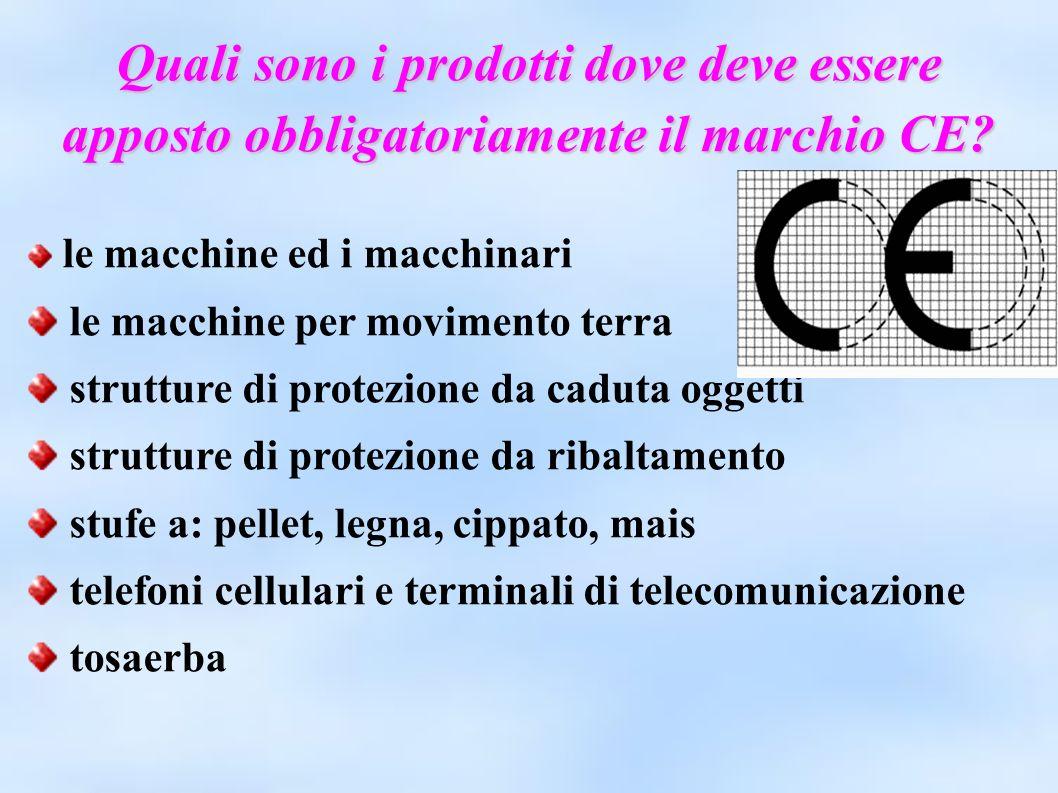 Quali sono i prodotti dove deve essere apposto obbligatoriamente il marchio CE? le macchine ed i macchinari le macchine per movimento terra strutture