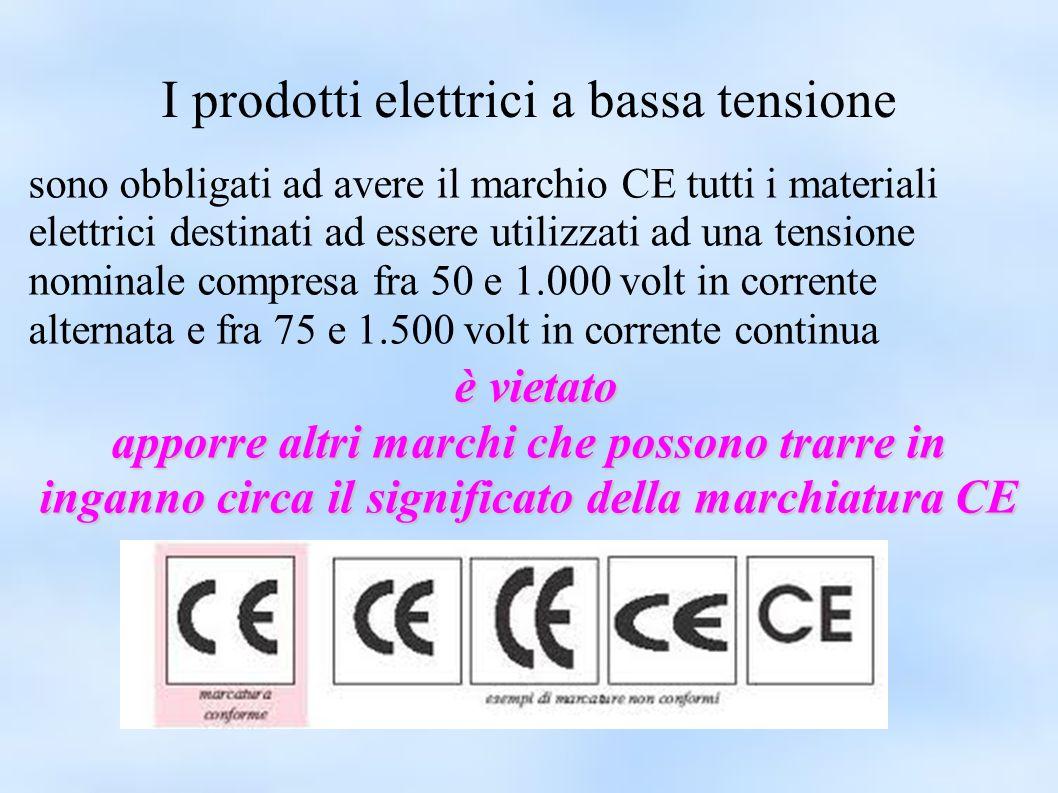 I prodotti elettrici a bassa tensione sono obbligati ad avere il marchio CE tutti i materiali elettrici destinati ad essere utilizzati ad una tensione