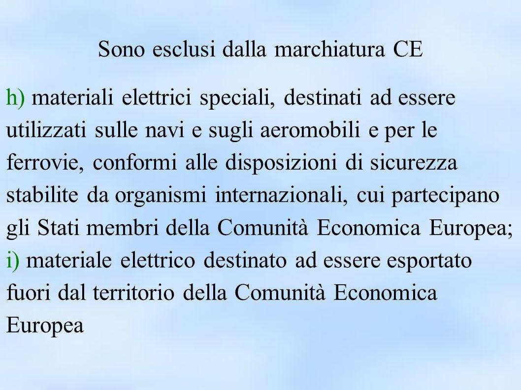 Sono esclusi dalla marchiatura CE h) materiali elettrici speciali, destinati ad essere utilizzati sulle navi e sugli aeromobili e per le ferrovie, con