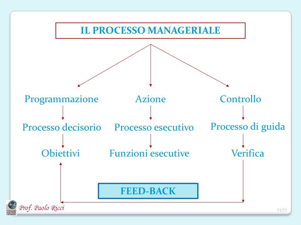 IL PROCESSO MANAGERIALE ProgrammazioneAzioneControllo Processo decisorio Obiettivi Processo esecutivo Funzioni esecutive Processo di guida Verifica FE