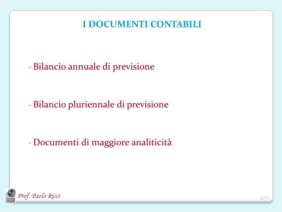 Prof. Paolo Ricci I DOCUMENTI CONTABILI - Bilancio annuale di previsione - Bilancio pluriennale di previsione - Documenti di maggiore analiticità 14/7