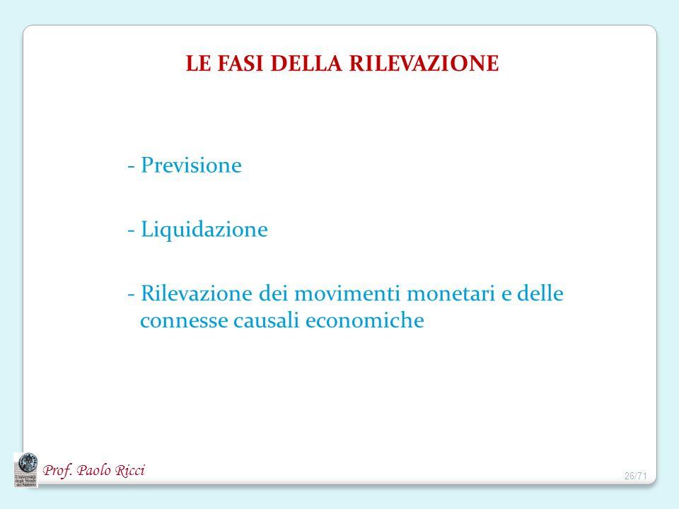 Prof. Paolo Ricci LE FASI DELLA RILEVAZIONE - Previsione - Liquidazione - Rilevazione dei movimenti monetari e delle connesse causali economiche 26/71