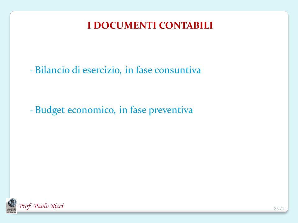 Prof. Paolo Ricci I DOCUMENTI CONTABILI - Bilancio di esercizio, in fase consuntiva - Budget economico, in fase preventiva 27/71
