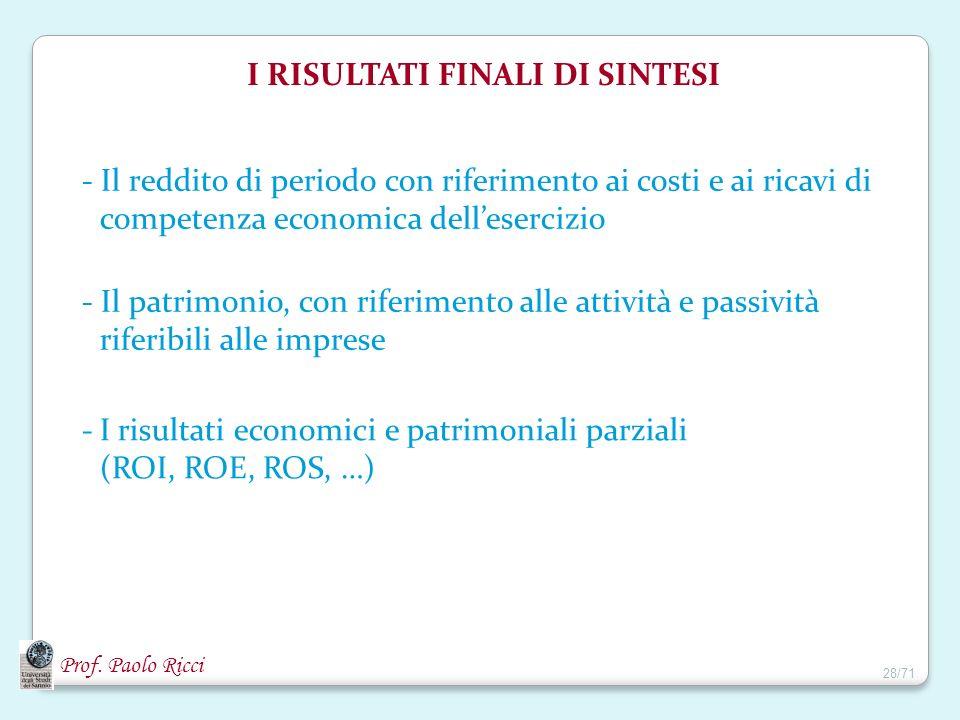 Prof. Paolo Ricci - Il reddito di periodo con riferimento ai costi e ai ricavi di competenza economica dellesercizio - Il patrimonio, con riferimento