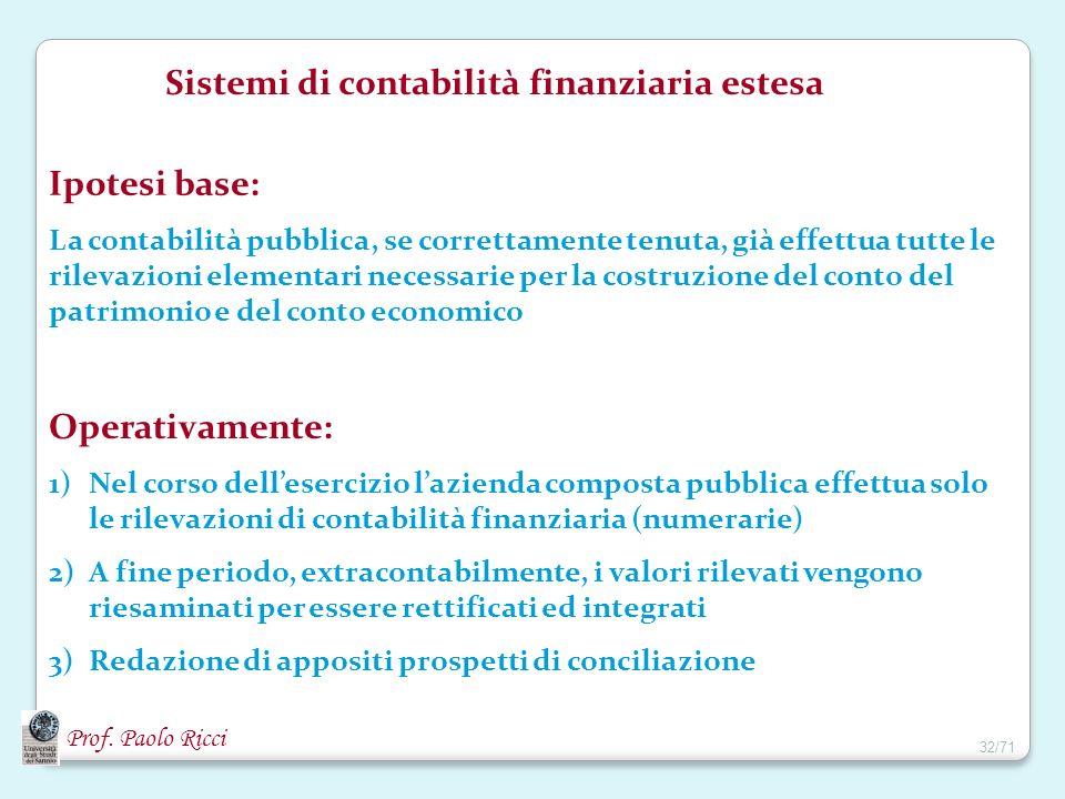 Prof. Paolo Ricci Sistemi di contabilità finanziaria estesa Ipotesi base: La contabilità pubblica, se correttamente tenuta, già effettua tutte le rile