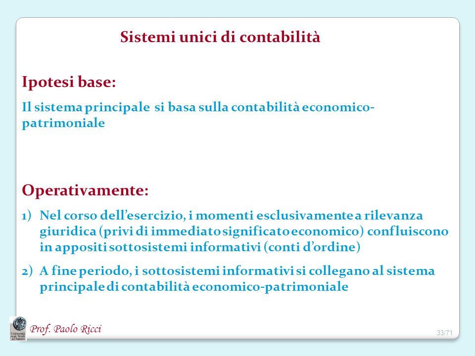 Prof. Paolo Ricci Sistemi unici di contabilità Ipotesi base: Il sistema principale si basa sulla contabilità economico- patrimoniale Operativamente: 1
