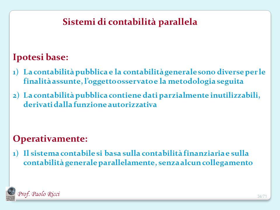 Prof. Paolo Ricci Sistemi di contabilità parallela Ipotesi base: 1)La contabilità pubblica e la contabilità generale sono diverse per le finalità assu