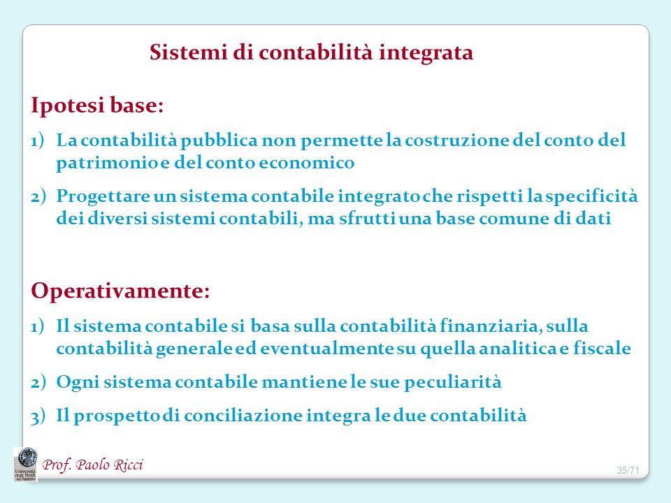 Prof. Paolo Ricci Sistemi di contabilità integrata Ipotesi base: 1)La contabilità pubblica non permette la costruzione del conto del patrimonio e del