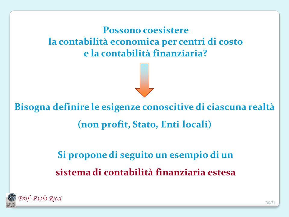 Prof. Paolo Ricci Possono coesistere la contabilità economica per centri di costo e la contabilità finanziaria? Bisogna definire le esigenze conosciti