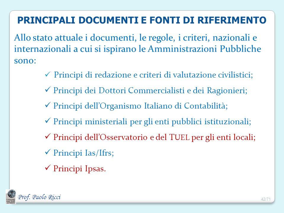 Prof. Paolo Ricci PRINCIPALI DOCUMENTI E FONTI DI RIFERIMENTO Allo stato attuale i documenti, le regole, i criteri, nazionali e internazionali a cui s