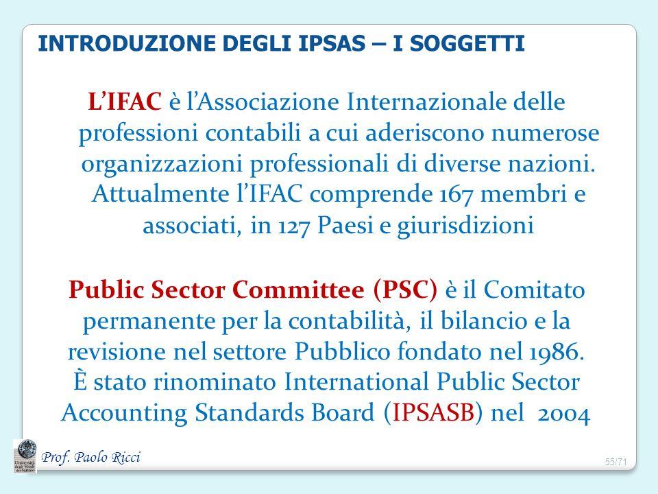 Prof. Paolo Ricci INTRODUZIONE DEGLI IPSAS – I SOGGETTI LIFAC è lAssociazione Internazionale delle professioni contabili a cui aderiscono numerose org