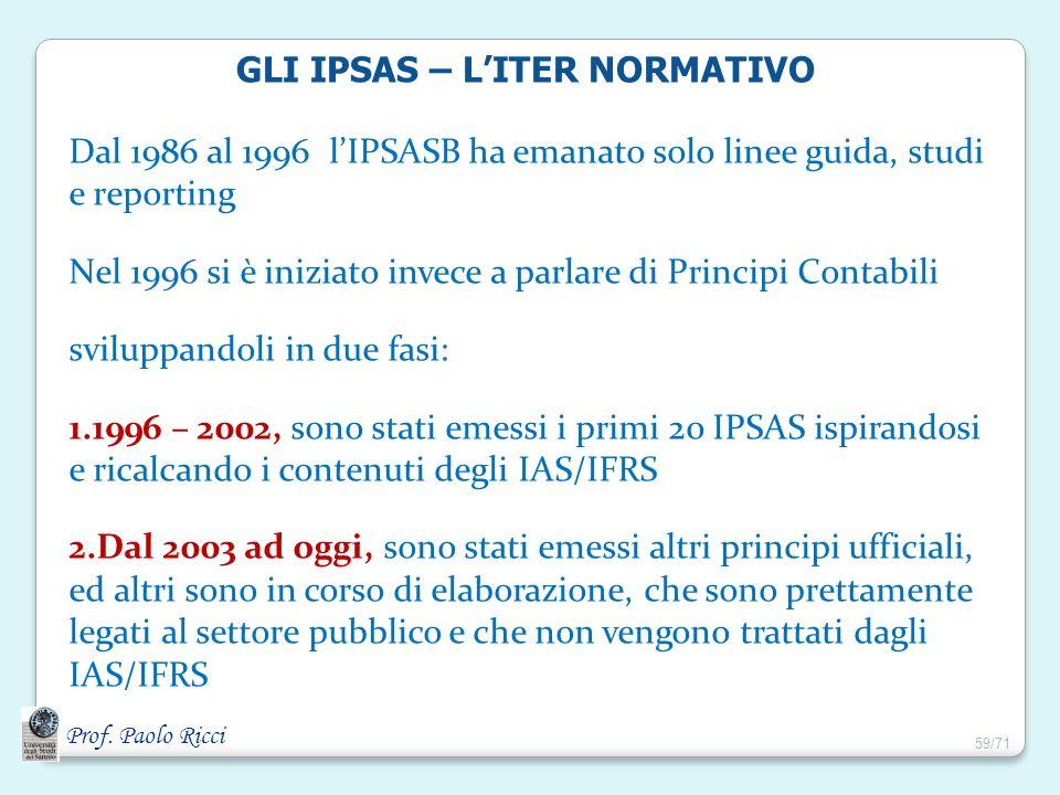 Prof. Paolo Ricci GLI IPSAS – LITER NORMATIVO Dal 1986 al 1996 lIPSASB ha emanato solo linee guida, studi e reporting Nel 1996 si è iniziato invece a