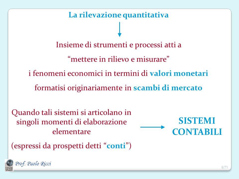 La rilevazione quantitativa Insieme di strumenti e processi atti a mettere in rilievo e misurare i fenomeni economici in termini di valori monetari fo