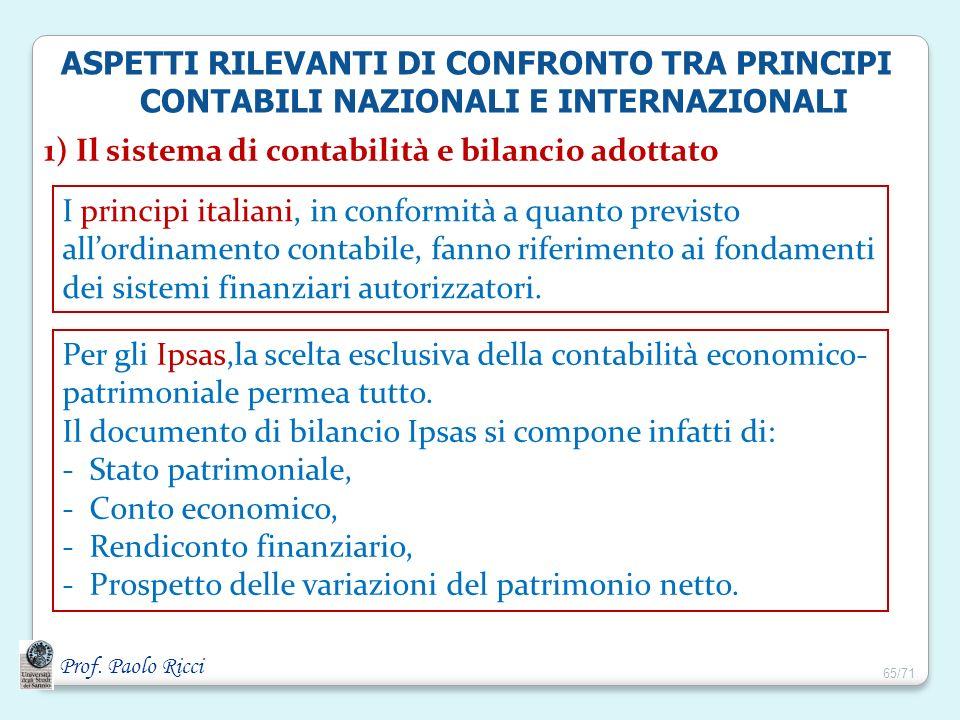 Prof. Paolo Ricci 1) Il sistema di contabilità e bilancio adottato I principi italiani, in conformità a quanto previsto allordinamento contabile, fann