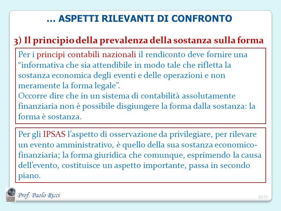 Prof. Paolo Ricci 3) Il principio della prevalenza della sostanza sulla forma Per i principi contabili nazionali il rendiconto deve fornire una inform
