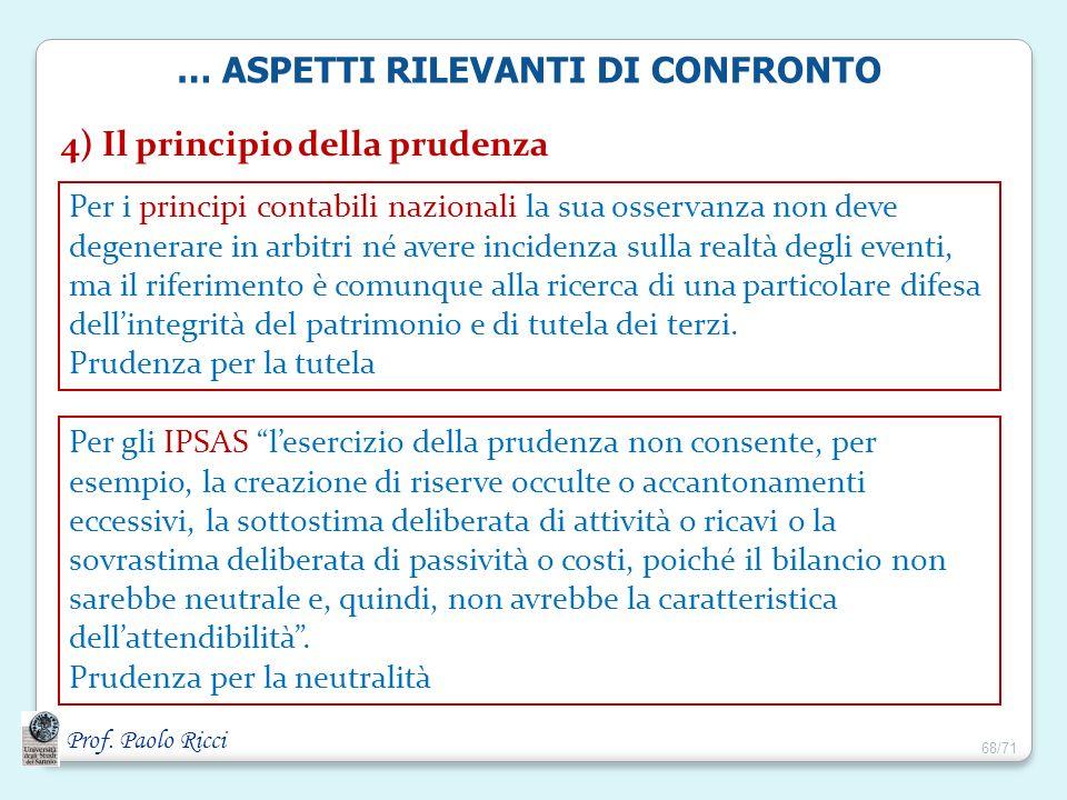 Prof. Paolo Ricci 4) Il principio della prudenza Per i principi contabili nazionali la sua osservanza non deve degenerare in arbitri né avere incidenz