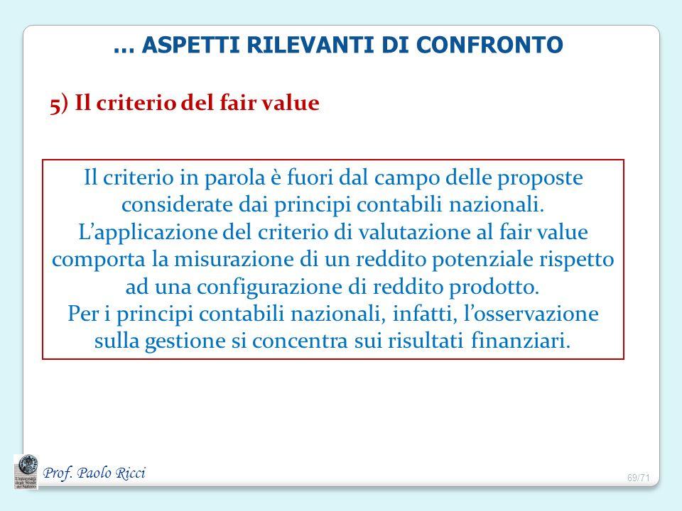 Prof. Paolo Ricci 5) Il criterio del fair value Il criterio in parola è fuori dal campo delle proposte considerate dai principi contabili nazionali. L