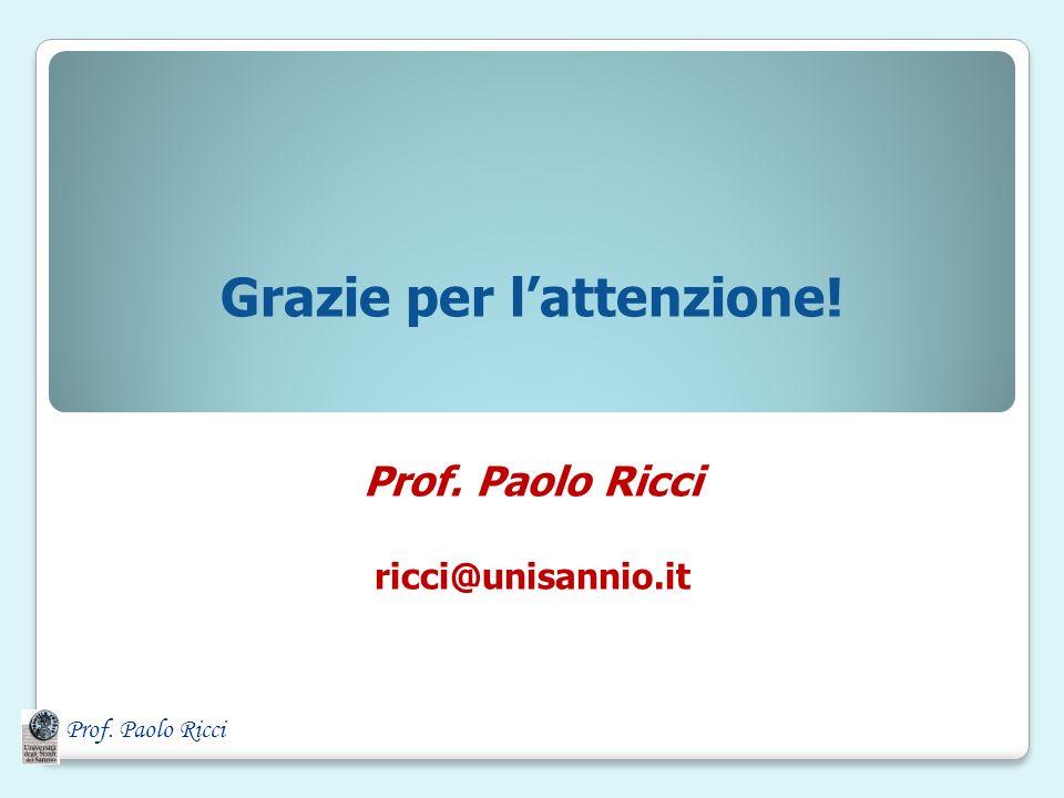 Prof. Paolo Ricci Grazie per lattenzione! Prof. Paolo Ricci ricci@unisannio.it