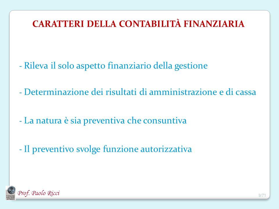 Prof. Paolo Ricci CARATTERI DELLA CONTABILITÀ FINANZIARIA - Rileva il solo aspetto finanziario della gestione - Determinazione dei risultati di ammini