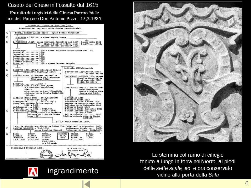 # 17 Luigi Cirese Luigi Cirese e Rosolina Bagnoli ebbero sei figli, tutti nati a Fossalto :Rosolina Bagnoli Saverio: 13 aprile 1879 – ?.?.19?.