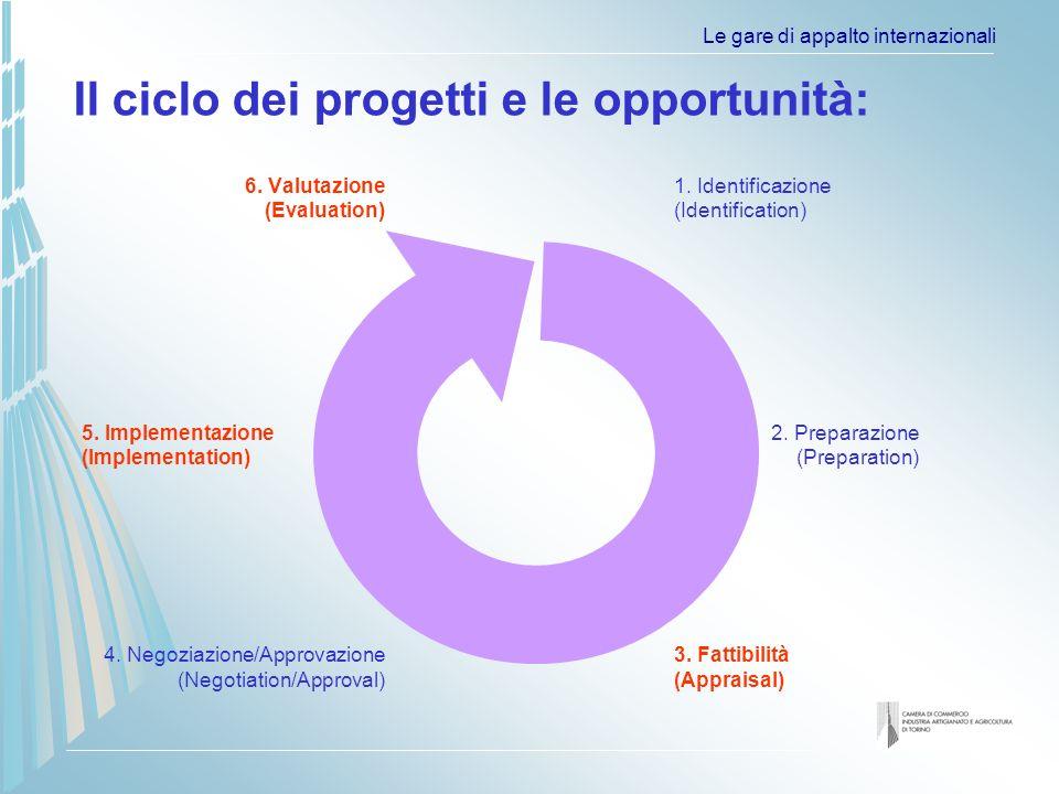 Le gare di appalto internazionali Il ciclo dei progetti e le opportunità: 6.
