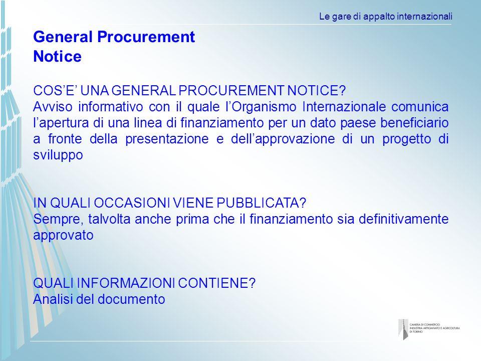 Le gare di appalto internazionali COSE UNA GENERAL PROCUREMENT NOTICE.