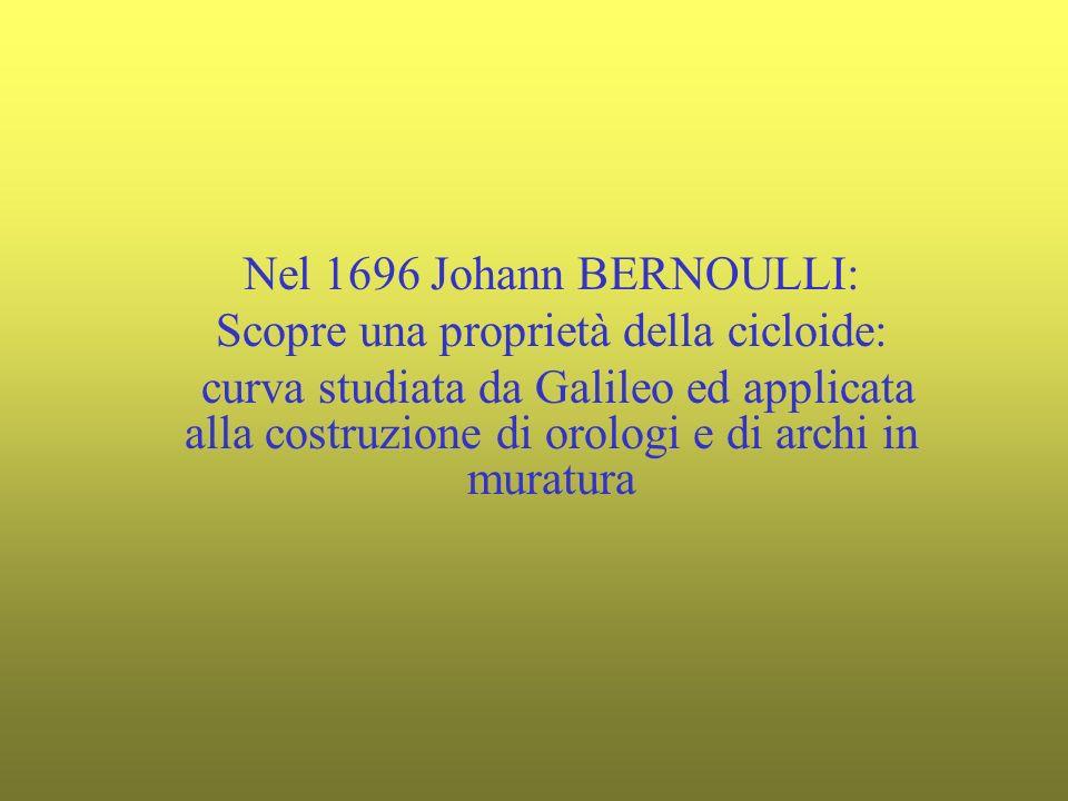 Nel 1696 Johann BERNOULLI: Scopre una proprietà della cicloide: curva studiata da Galileo ed applicata alla costruzione di orologi e di archi in muratura
