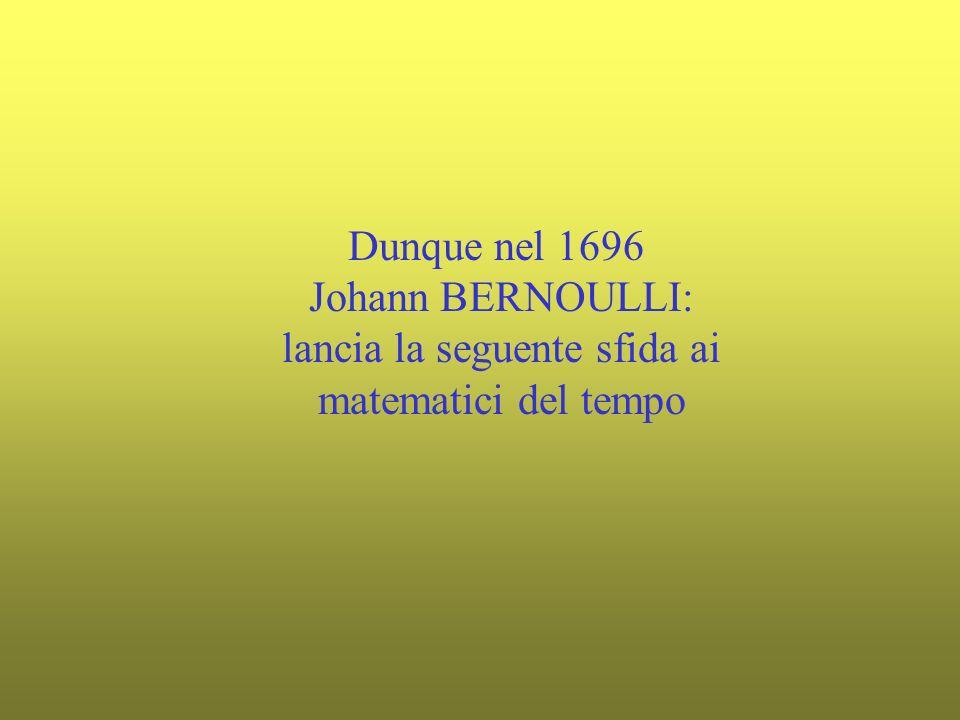 Dunque nel 1696 Johann BERNOULLI: lancia la seguente sfida ai matematici del tempo