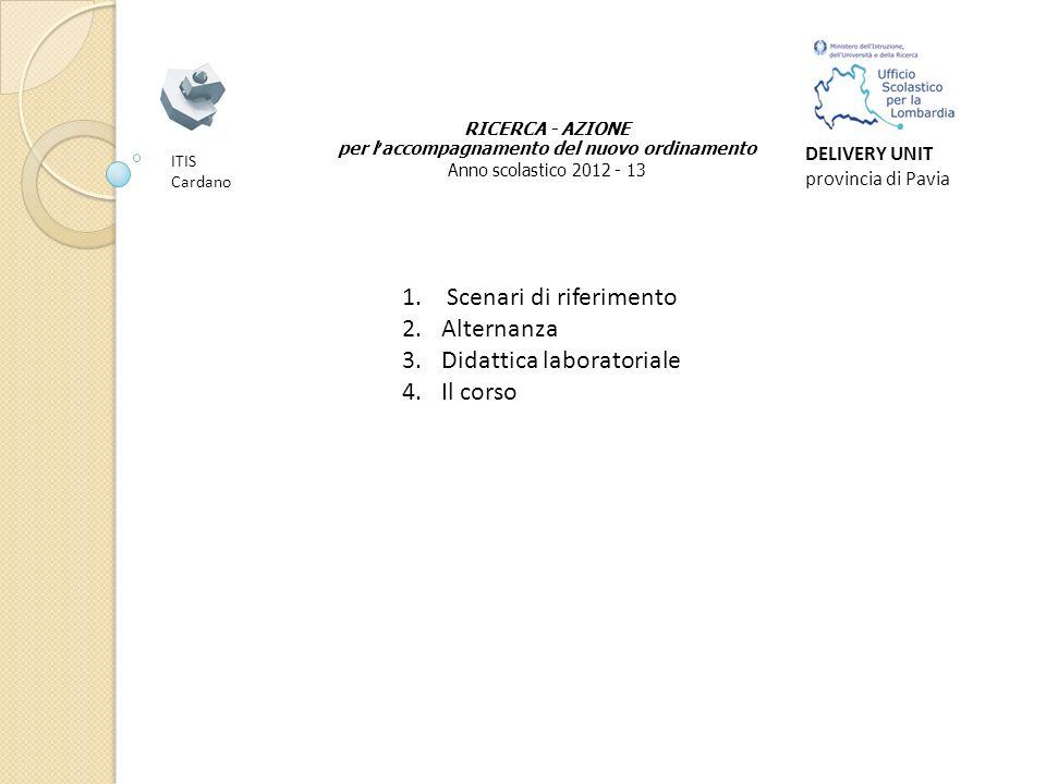 RICERCA - AZIONE per l accompagnamento del nuovo ordinamento Anno scolastico 2012 - 13 ITIS Cardano DELIVERY UNIT provincia di Pavia 1.