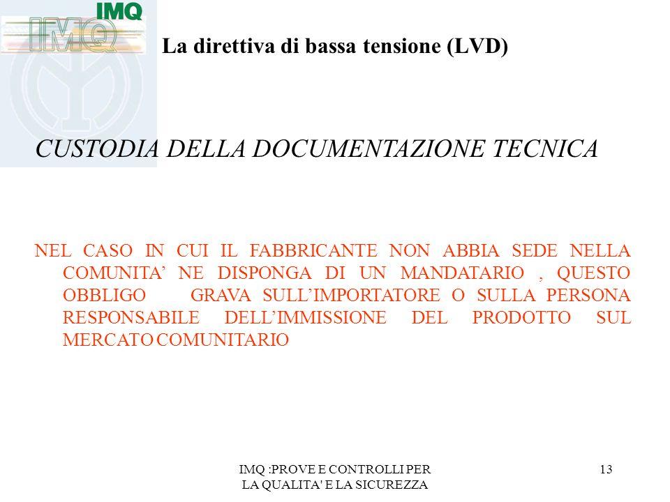 IMQ :PROVE E CONTROLLI PER LA QUALITA' E LA SICUREZZA 13 La direttiva di bassa tensione (LVD) CUSTODIA DELLA DOCUMENTAZIONE TECNICA NEL CASO IN CUI IL