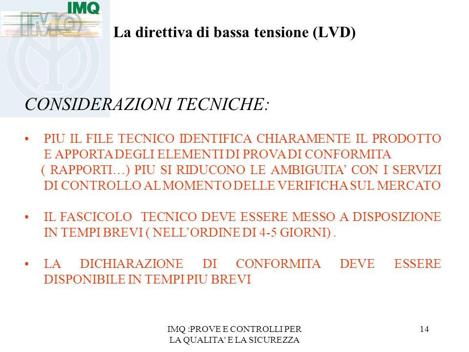 IMQ :PROVE E CONTROLLI PER LA QUALITA' E LA SICUREZZA 14 La direttiva di bassa tensione (LVD) CONSIDERAZIONI TECNICHE: PIU IL FILE TECNICO IDENTIFICA