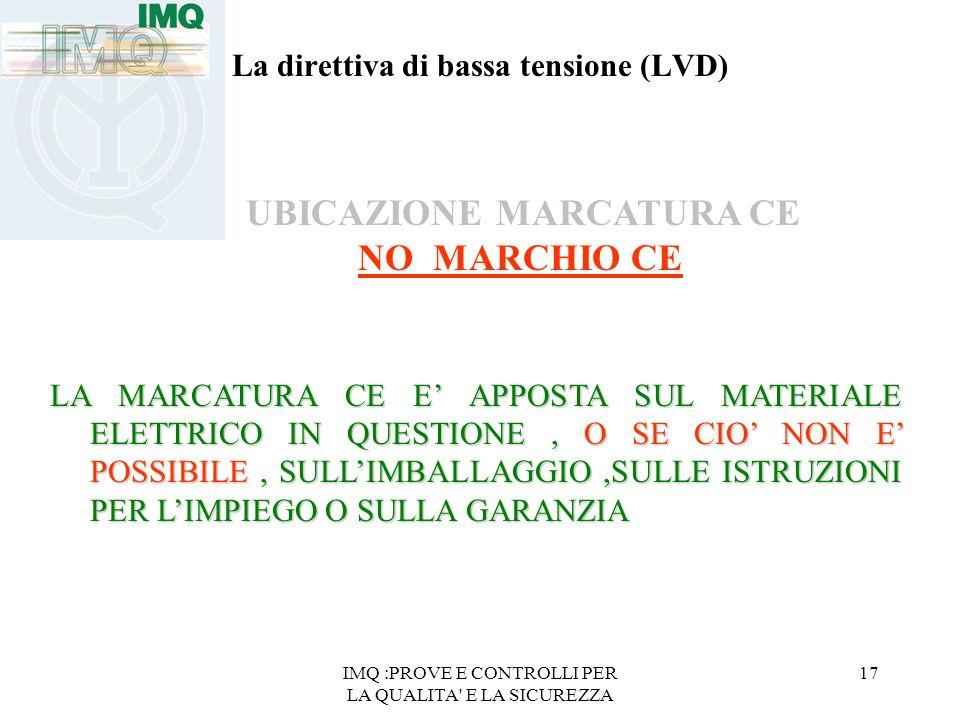 IMQ :PROVE E CONTROLLI PER LA QUALITA' E LA SICUREZZA 17 La direttiva di bassa tensione (LVD) UBICAZIONE MARCATURA CE NO MARCHIO CE LA MARCATURA CE E