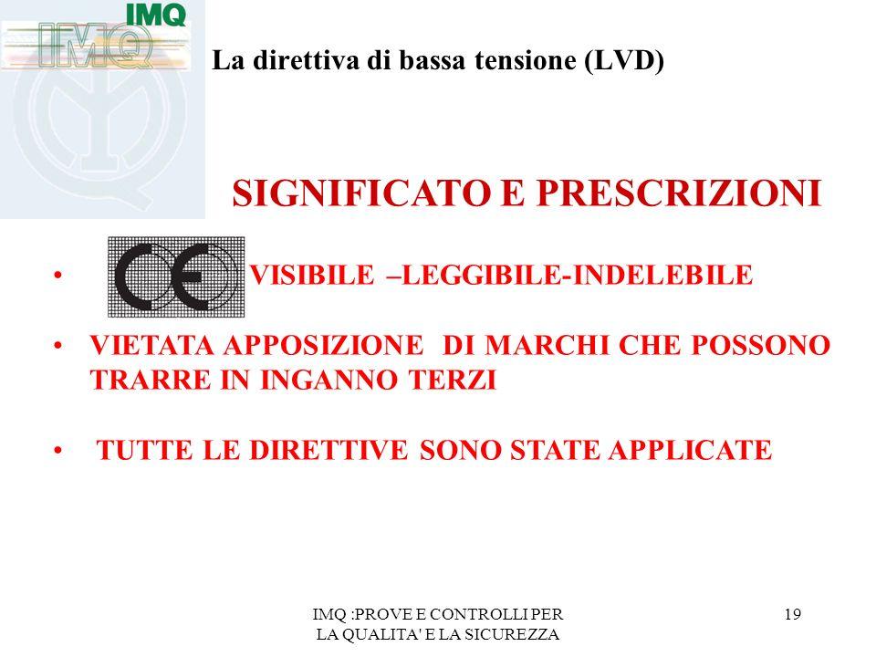 IMQ :PROVE E CONTROLLI PER LA QUALITA' E LA SICUREZZA 19 La direttiva di bassa tensione (LVD) SIGNIFICATO E PRESCRIZIONI VISIBILE –LEGGIBILE-INDELEBIL