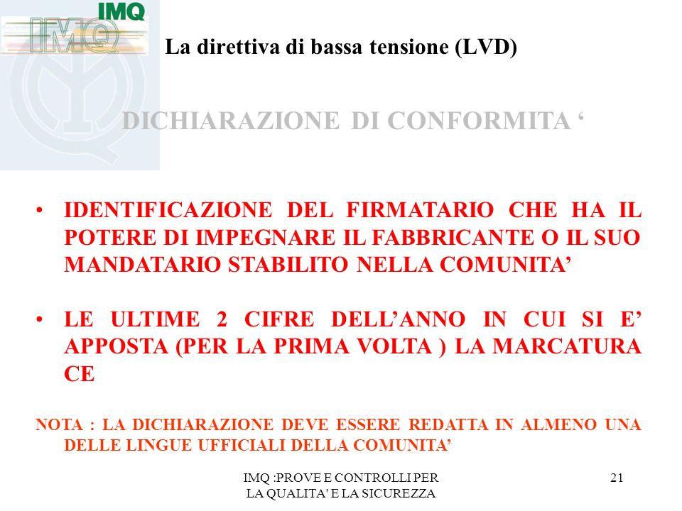 IMQ :PROVE E CONTROLLI PER LA QUALITA' E LA SICUREZZA 21 La direttiva di bassa tensione (LVD) DICHIARAZIONE DI CONFORMITA IDENTIFICAZIONE DEL FIRMATAR