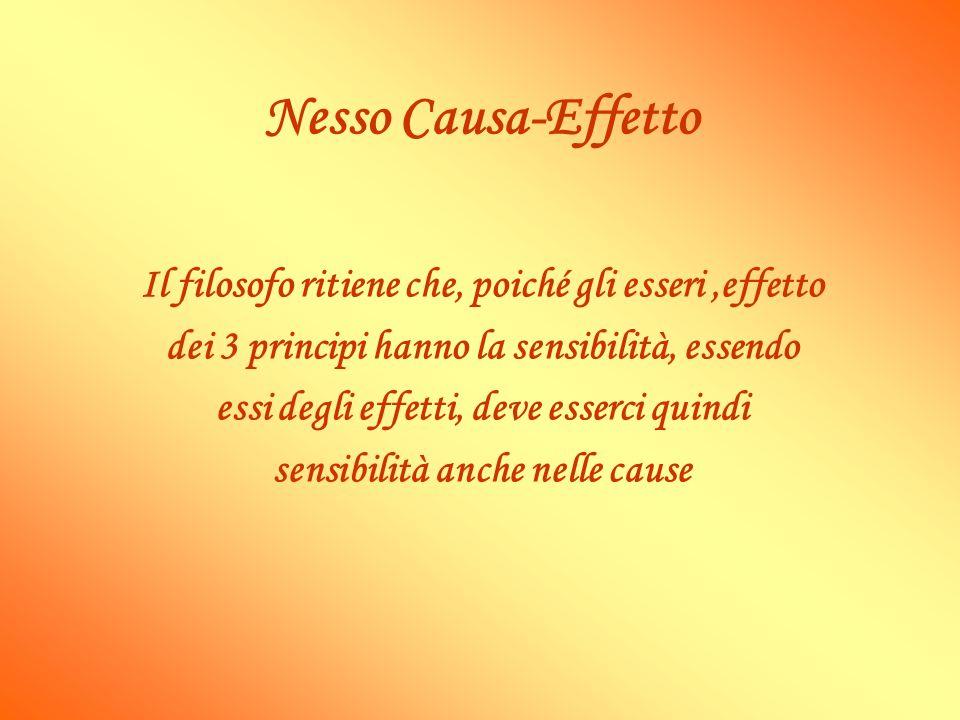 Nesso Causa-Effetto Il filosofo ritiene che, poiché gli esseri,effetto dei 3 principi hanno la sensibilità, essendo essi degli effetti, deve esserci q