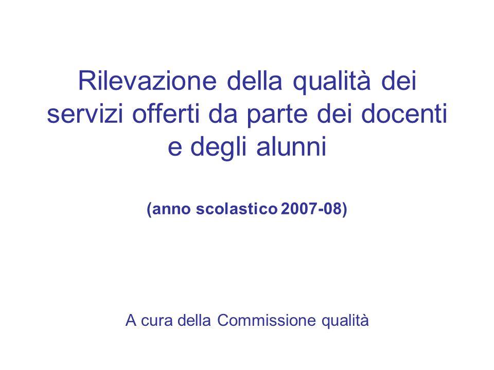 Rilevazione della qualità dei servizi offerti da parte dei docenti e degli alunni (anno scolastico 2007-08) A cura della Commissione qualità