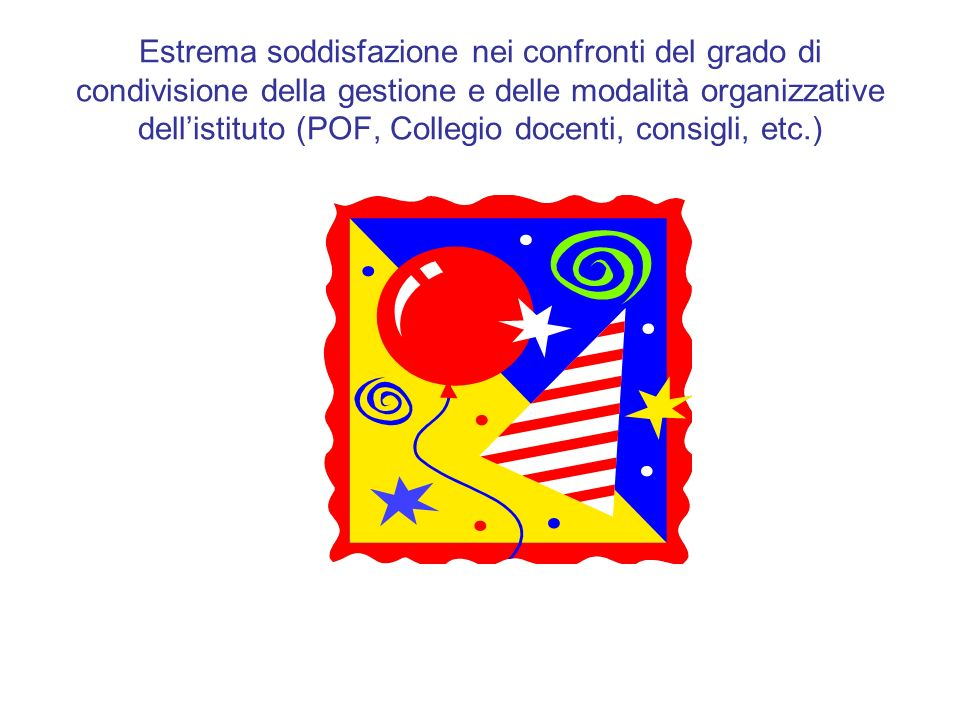 Estrema soddisfazione nei confronti del grado di condivisione della gestione e delle modalità organizzative dellistituto (POF, Collegio docenti, consi