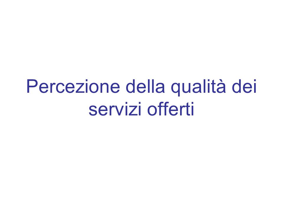 Percezione della qualità dei servizi offerti