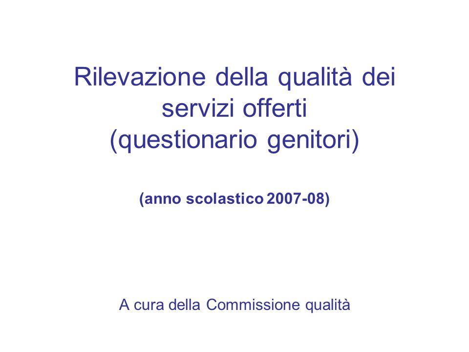 Rilevazione della qualità dei servizi offerti (questionario genitori) (anno scolastico 2007-08) A cura della Commissione qualità