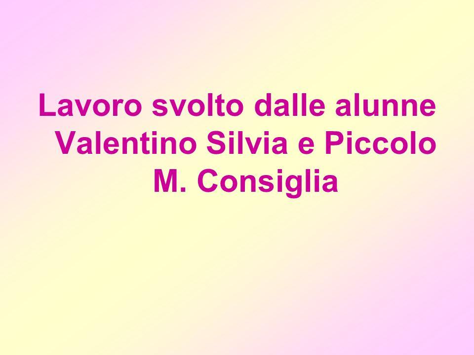 Lavoro svolto dalle alunne Valentino Silvia e Piccolo M. Consiglia