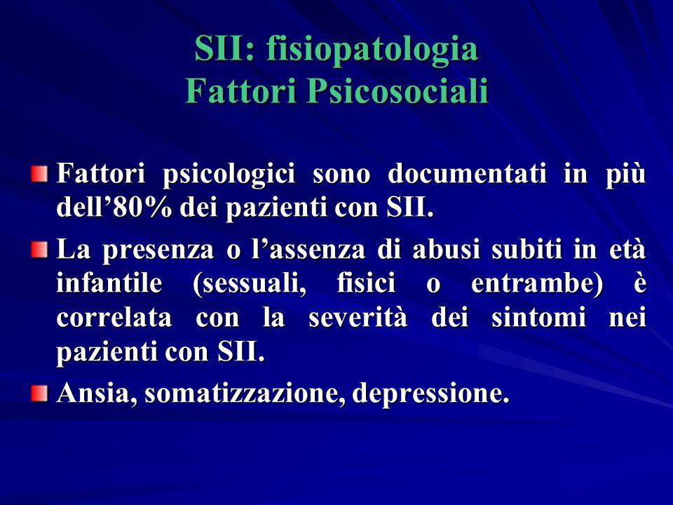 SII: fisiopatologia Fattori Psicosociali Fattori psicologici sono documentati in più dell80% dei pazienti con SII.