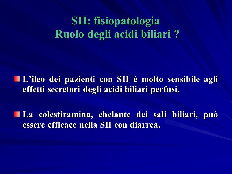 SII: fisiopatologia Ruolo degli acidi biliari .