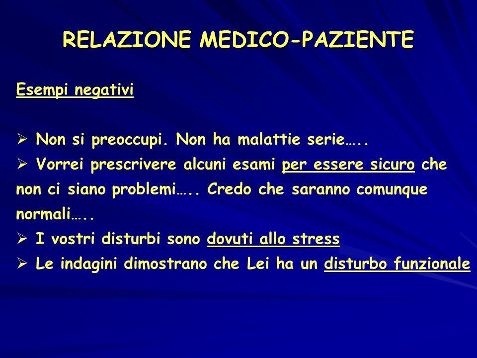 RELAZIONE MEDICO-PAZIENTE Esempi negativi Non si preoccupi.