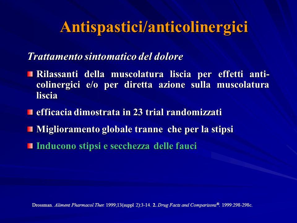 Antispastici/anticolinergici Trattamento sintomatico del dolore Rilassanti della muscolatura liscia per effetti anti- colinergici e/o per diretta azione sulla muscolatura liscia efficacia dimostrata in 23 trial randomizzati Miglioramento globale tranne che per la stipsi Inducono stipsi e secchezza delle fauci Drossman.