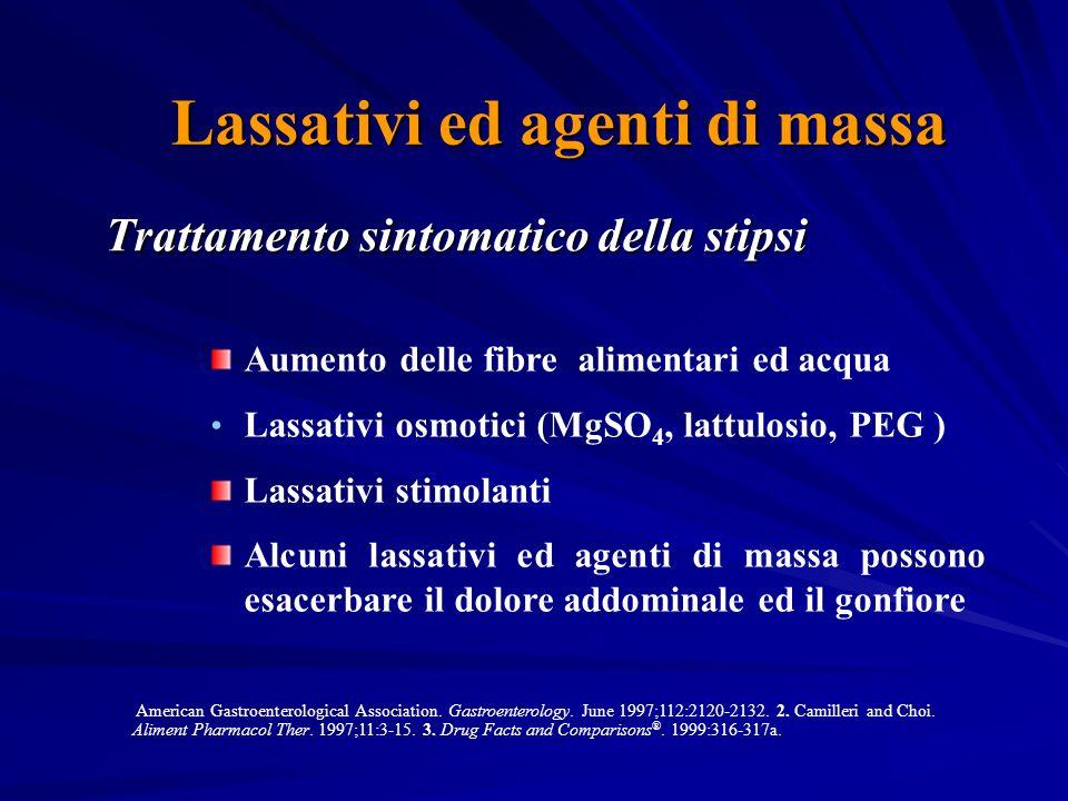 Lassativi ed agenti di massa Trattamento sintomatico della stipsi American Gastroenterological Association.