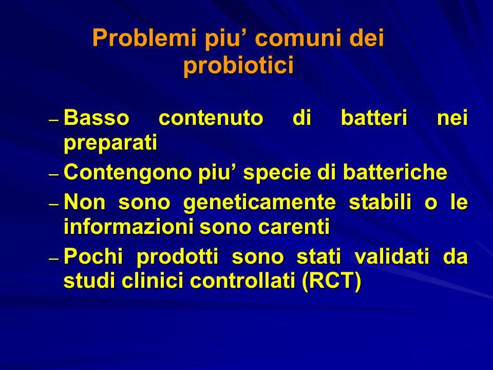 Problemi piu comuni dei probiotici – Basso contenuto di batteri nei preparati – Contengono piu specie di batteriche – Non sono geneticamente stabili o le informazioni sono carenti – Pochi prodotti sono stati validati da studi clinici controllati (RCT)