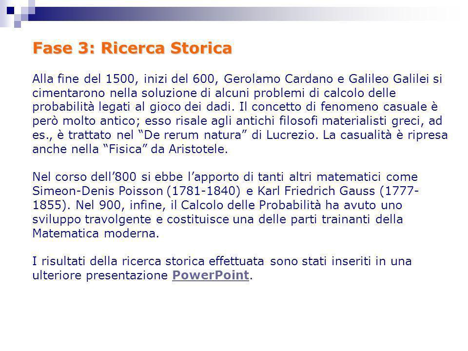 Fase 3: Ricerca Storica Alla fine del 1500, inizi del 600, Gerolamo Cardano e Galileo Galilei si cimentarono nella soluzione di alcuni problemi di cal